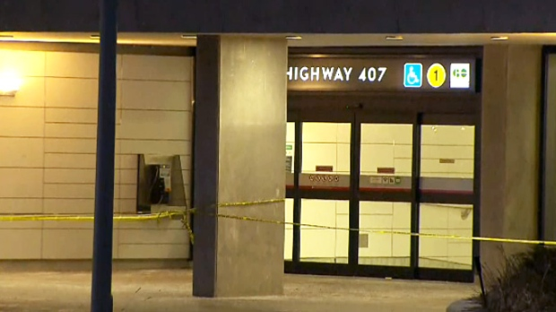 Police tape blocks off an entrance to the Highway 407 subway station on January 16, 2019 after a shooting sent one person to hospital in critical condition.