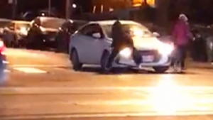 Toronto police say they are investigating the events leading up to a bout of road rage which was captured on camera.
