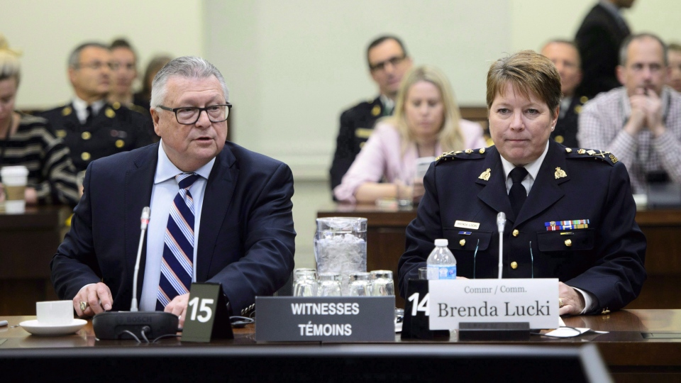 Public Safety and Emergency Preparedness Minister Ralph Goodale introduces New RCMP Commissioner Brenda Lucki as she appears at a House of Commons Standing Committee on Public Safety and National Security in Ottawa on May 7, 2018. (THE CANADIAN PRESS/Sean Kilpatrick)