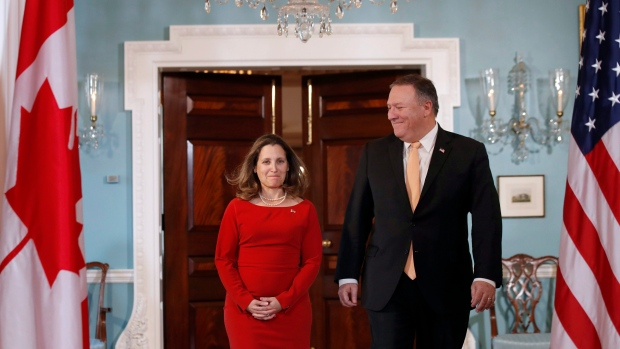 Canadian Minister of Foreign Affairs, Chrystia Freeland arrives with Secretary of State Mike Pompeo for a photo opportunity before their meeting at the State Department, Friday, May 11, 2018 in Washington. (AP Photo/Alex Brandon)