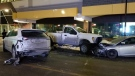 A stolen Ford F350 was involved in a collision in downtown Regina. (Courtesy: Michael Ball)