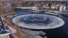 Floating ice disk in Maine