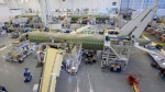 The Airbus A220 assembly line is seen at the company's facility Monday, January 14, 2019 in Mirabel, Quebec. (THE CANADIAN PRESS/Ryan Remiorz)
