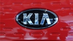 FILE- This file photos shows the logo of Kia Motors during an unveiling ceremony on Dec. 13, 2017, in Seoul, South Korea. (AP Photo, File)
