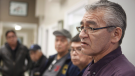 Hereditary Chief Na'Moks is joined by fellow chiefs as he speaks to media following their meeting with RCMP members and Coastal GasLink representatives after discussing ways of ending the pipeline impasse on Wet'suwet'en land during meetings at the office of the Wet'suwet'en First Nation in Smithers, B.C., on Thursday, January 10, 2019. THE CANADIAN PRESS/Chad Hipolito
