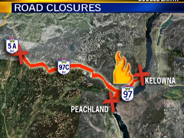 Parts of Highway 97, a key traffic artery in the Okanagan were closed Saturday by a huge forest fire. JulParts of Highway 97, a key traffic artery in the Okanagan were closed Saturday by a huge forest fire. (Google Earth) July 18th, 2009.y 18th, 2009.