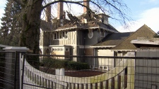A fire-damaged Frank W Rounsefell Residence is seen in this image from January 2019.
