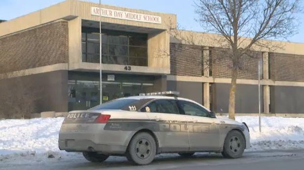 Police outside Arthur Day Middle School on Jan. 14, 2018.