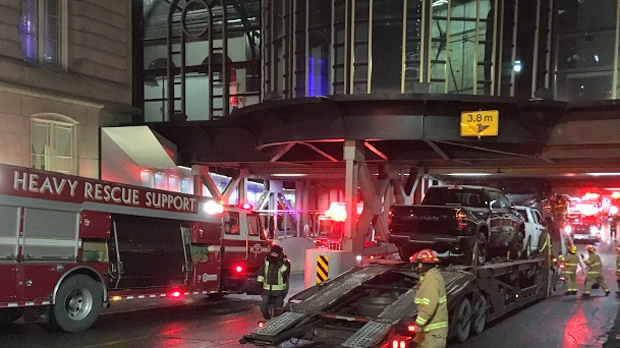 CFD crews, including members of the heavy rescue support team, responded to the 1 St SW underpass between the Palliser Hotel and the Canadian Pacific Railway building after a load struck the structure