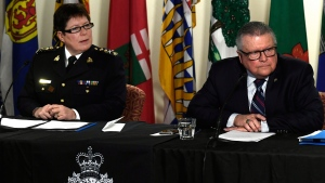 RCMP Commissioner Brenda Lucki, left, and Minister of Public Safety and Emergency Preparedness Ralph Goodale listen to questions during a press conference on the RCMP's new Interim Management Advisory Board in Ottawa on Wednesday, Jan. 16, 2019. THE CANADIAN PRESS/Justin Tang