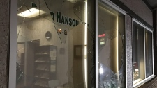 One man has been charged after the St. Paul UCP constituency office's windows were smashed with rocks. (Supplied: United Conservative Party Caucus)