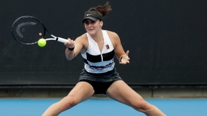 Canada's Bianca Andreescu makes a forehand return to Latvia's Anastasija Sevastova during their second round match at the Australian Open tennis championships in Melbourne, Australia, Thursday, Jan. 17, 2019. (AP Photo/Aaron Favila)