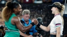 Serena Williams, left, is congratulated by Canada's Eugenie Bouchard, right, after winning their second round match at the Australian Open tennis championships in Melbourne, Australia, Thursday, Jan. 17, 2019. (AP Photo/Aaron Favila)
