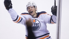 Edmonton Oilers right wing Alex Chiasson (39) celebrates his shootout game-winning goal following NHL action against the Vancouver Canucks at Rogers Arena, in Vancouver, Wednesday, Jan. 16, 2019. THE CANADIAN PRESS/Jonathan Hayward