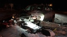 Two-vehicle crash involving snowmobile and truck
