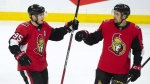 Ottawa Senators centre Matt Duchene celebrates his second goal of the game with teammate Cody Ceci during third period NHL action against the Colorado Avalanche, in Ottawa, Wednesday, Jan. 16, 2019. The Senators defeated the Avalanche 5-2. THE CANADIAN PRESS/Adrian Wyld
