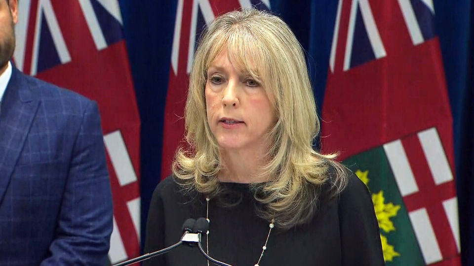 Ontario Training, Colleges and Universities Minister Merrliee Fullerton makes an announcement, Thursday, Jan. 17, 2019.