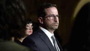 Yves-Francois Blanchet makes an announcement on the leadership race of the Bloc Quebecois in the Foyer of the House of Commons on Parliament Hill in Ottawa on Monday, Nov. 26, 2018. THE CANADIAN PRESS/Justin Tang