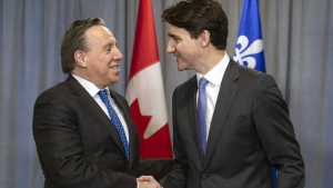 Prime Minister Justin Trudeau meets with Quebec Premier Francois Legault in Sherbrooke, Que. on Thursday, January 17, 2019. THE CANADIAN PRESS/Paul Chiasson