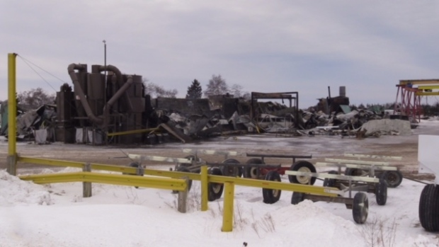 The damage following a fire at Glavin Coating and Refinishing near Hensall, Ont. is seen on Thursday, Jan. 17, 2019. (Scott Miller / CTV London)