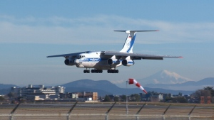 The Ilyushin Il-76 is being paid for by the Chilean government to grab an Island helicopter and fly to Chile. Jan. 15, 2019 (CTV Vancouver Island)