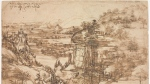 "This undated photo provided by the Opera Laboratori on Thursday, Jan. 17, 2019 shows the drawing ""Il Paesaggio"" (The Landscape), attributed to Leonardo da Vinci on Aug. 5, 1473. The drawing was moved on Thursday from the Uffizi Gallery to the Opificio delle Pietre Dure where it will undergo its first scientific analysis, in Florence, Italy.(Roberto Palermo, Opera Laboratori via AP)"