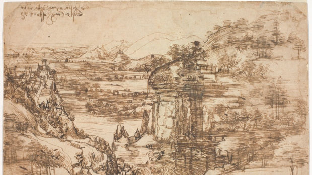 Study of Leonardo's 1st landscape finds he had second thoughts