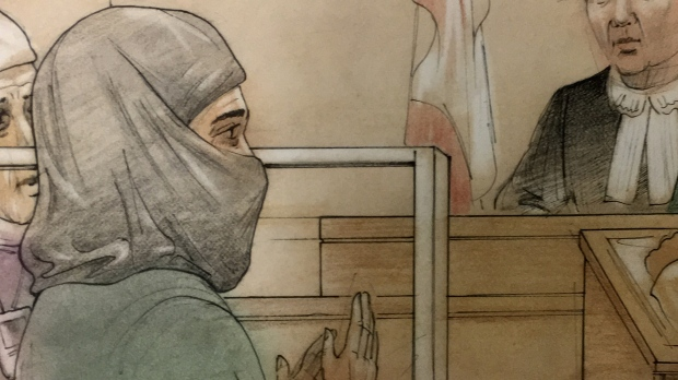 Rehab Dughmosh appears in a Toronto courtroom on Tuesday, June 6, 2017.