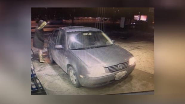 Gas theft suspects car, a 4-door, grey Volkswagen Jetta as seen in this surveillance video (Courtesy: South Simcoe Police)