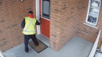 A video taken from home security cameras shows an Ontario postal worker neither knocking or ringing the bell before dropping off a delivery slip for a package.