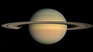 This July 23, 2008 image made available by NASA shows the planet Saturn, as seen from the Cassini spacecraft. (NASA/JPL/Space Science Institute via AP)