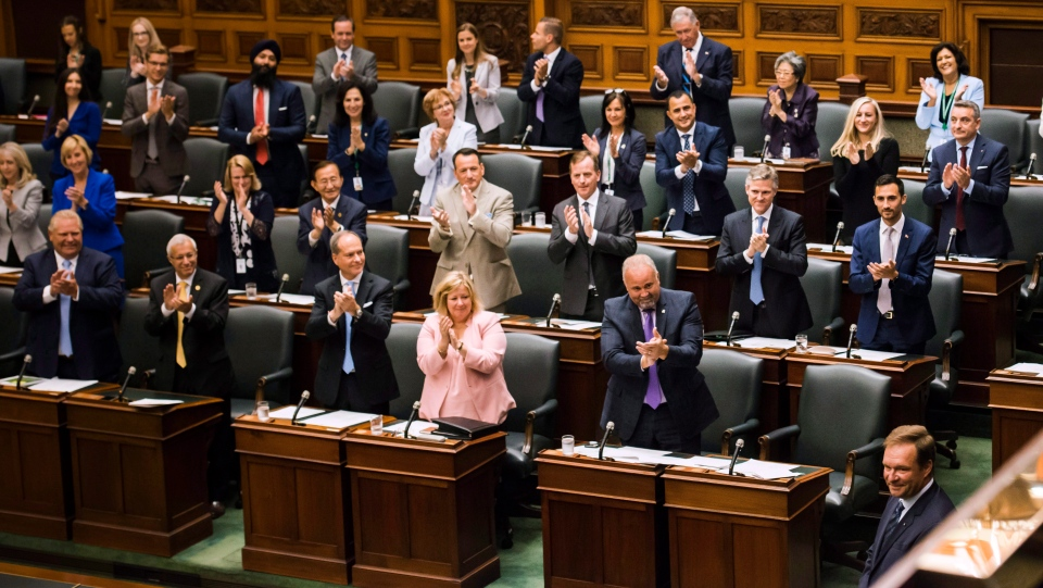 Ted Arnott addresses the house after being elected the new Speaker of the Ontario Legislative Assembly at Queen's Park, in Toronto on Wednesday, July 11, 2018. (THE CANADIAN PRESS/Christopher Katsarov)