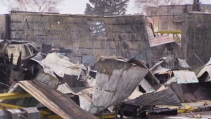 Damage after a fire at Glavin Coating and Refinishing in Zurich, Ont. is seen on Thursday, Jan. 17, 2019. (Scott Miller / CTV London)