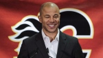 Former Calgary Flames captain Jarome Iginla announces his retirement from the NHL, after playing 20 seasons, at a news conference in Calgary on July 30, 2018. THE CANADIAN PRESS/Jeff McIntosh