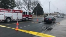 A serious accident on Tecumseh Road closed the road closed at Elsmere and Parent Avenue in Windsor, Ont., on Thursday, Jan. 17, 2019. (Angelo Aversa / CTV Windsor)