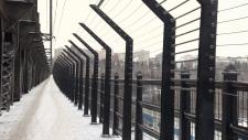 Suicide prevention barriers on Edmonton's High Level Bridge.