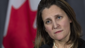 Foreign Affairs Minister Chrystia Freeland listens to questions during a cabinet meeting in Sherbrooke, Que. on Thursday, January 17, 2019. THE CANADIAN PRESS/Paul Chiasson
