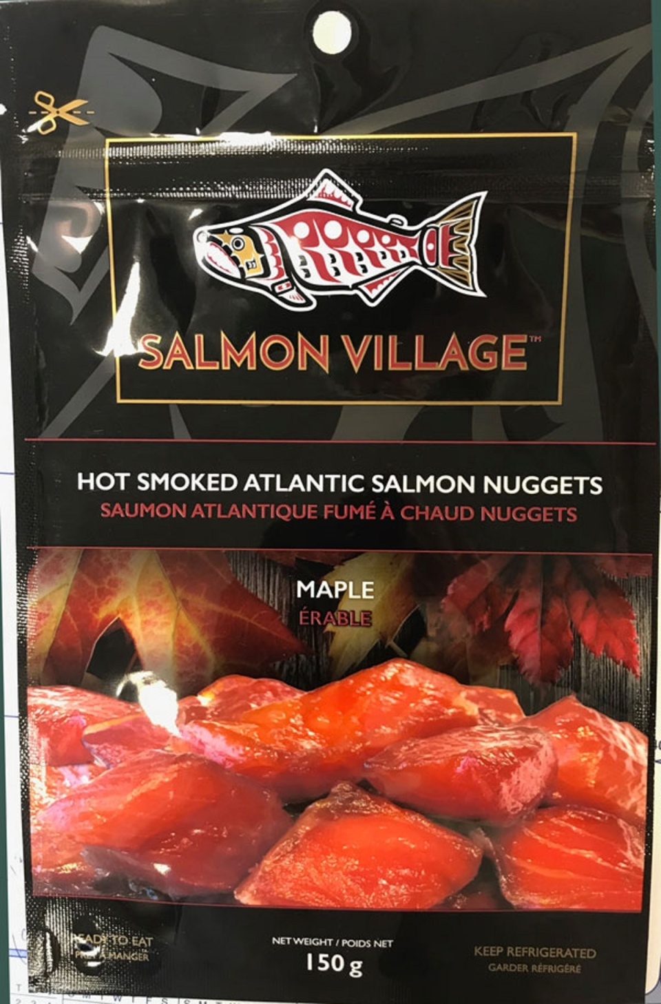 Salmon Village Hot Smoked Atlantic Salmon Nuggets - Maple – 150 grams. (Canadian Food Inspection Agency)