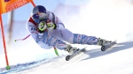 Lindsey Vonn speeds down the course in Cortina D'Ampezzo, Italy, on Jan. 18, 2019. (Marco Trovati / AP)