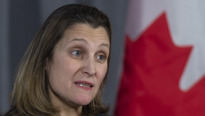 Foreign Affairs Minister Chrystia Freeland responds to questions during a cabinet meeting in Sherbrooke, Que. on Thursday, January 17, 2019. THE CANADIAN PRESS/Paul Chiasson