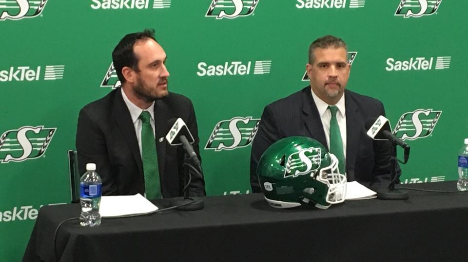 Craig Reynolds and Jeremy O'Day speak at a press conference in Regina on Jan. 18 (Gareth Dillistone / CTV Regina)