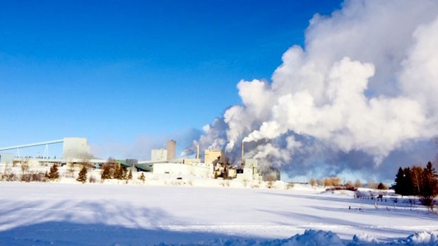 Dryden pulp mill at -34C this morning. Photo by Larry Sukava.
