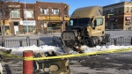 The truck crashed at Salter Avenue and Selkirk Street, police said. (Jeff Keele/CTV News)