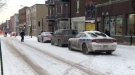 Montreal police investigating at the scene of the stabbing on Rachel St.