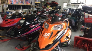 Snowmobiles and outdoor equipment are displayed at Sturgeon Point Marina in Wasaga Beach, Ont. on Friday, Jan. 18, 2019 (CTV News/Aileen Doyle)