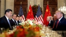 In this Dec. 1, 2018, file photo, U.S. President Donald Trump, second right, and China's President Xi Jinping, second left, attend their bilateral meeting at the G20 Summit in Buenos Aires, Argentina. (AP Photo/Pablo Martinez Monsivais, File)