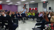 Prime Minister Justin Trudeau at a town hall in St-Hyacinthe.