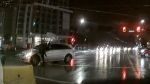 Video obtained by CTV News of a close call in South Vancouver between a pedestrian and a left-turning car.