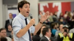 Prime Minister Justin Trudeau answers questions during a town hall meeting Friday, January 18, 2019 in St. Hyacinthe, Que. (THE CANADIAN PRESS/Ryan Remiorz)