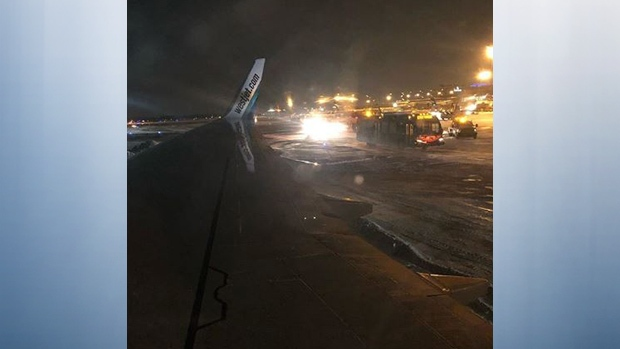 This WestJet plane slid of the taxiway at the Edmonton International Airport on Friday, Jan. 18, 2019. (Becky Johnson, Instagram)